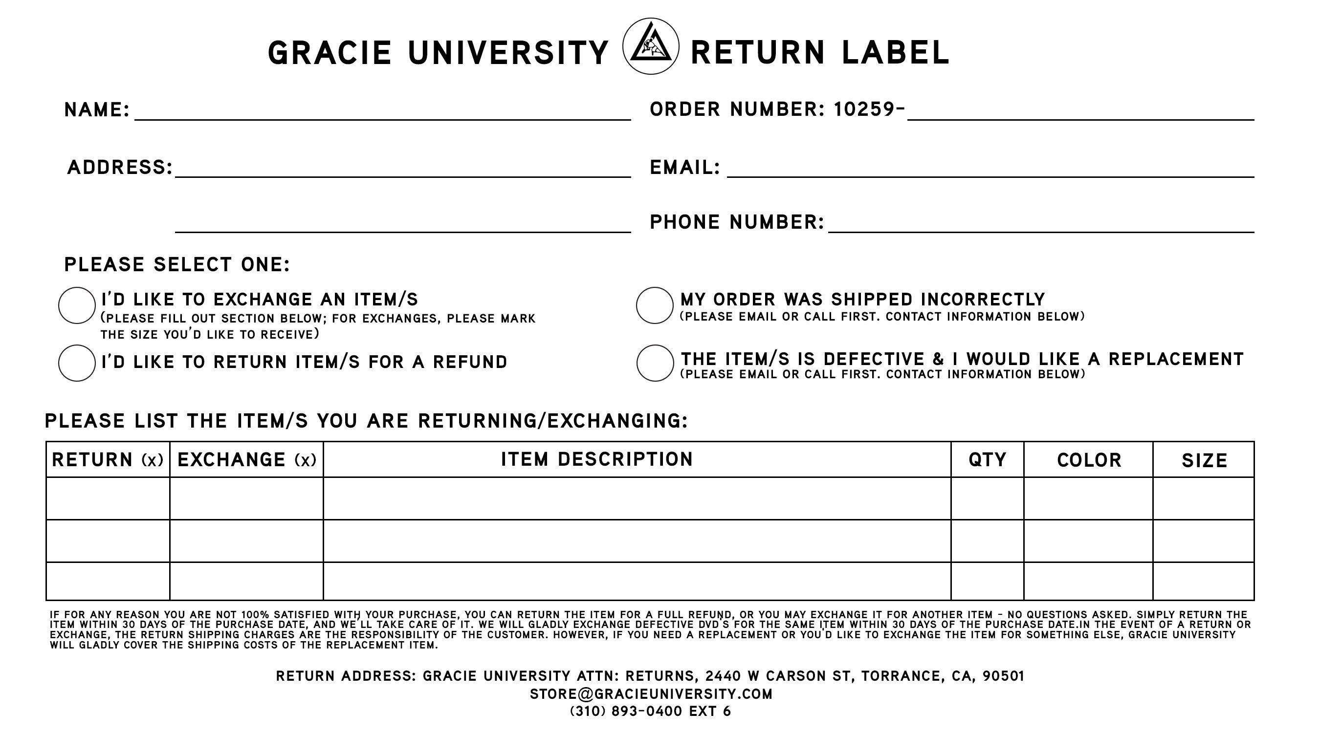 Store info click here to print out a return shipping label that can be attached to the item for return ccuart Images