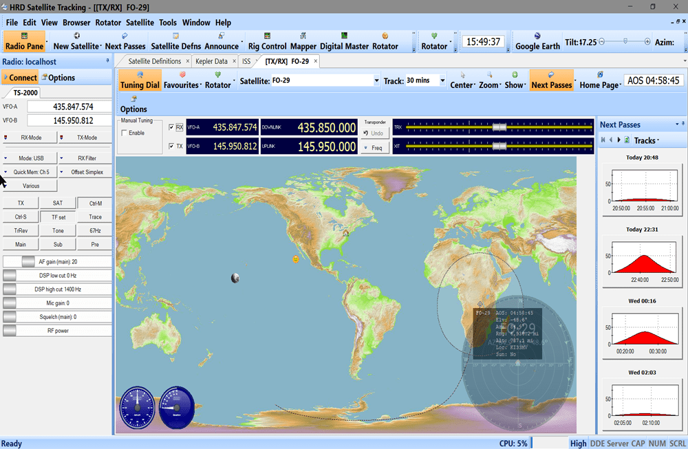 Ham Radio Deluxe (HRD) Satellite Tracking Screen