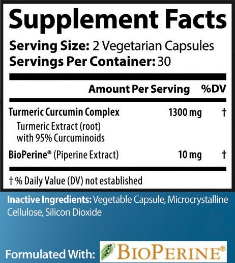 Prostavol Turmeric Curcumin Supplement Facts