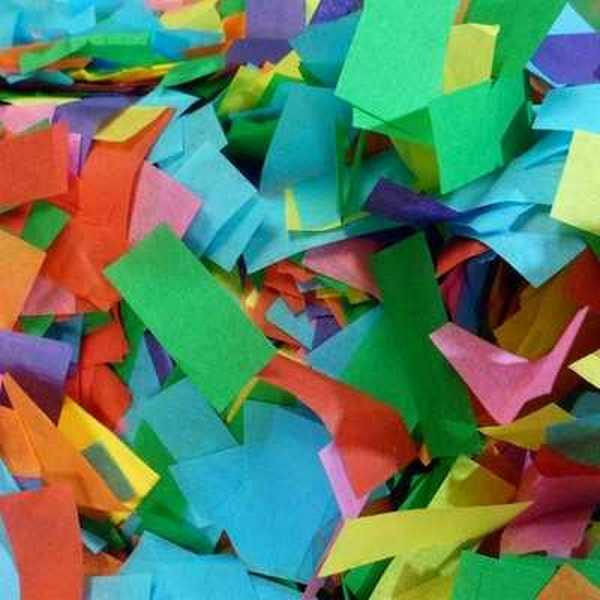 Tissue confetti comes in many colors.