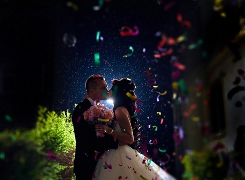 Beautiful Soft Confetti Wedding Photo