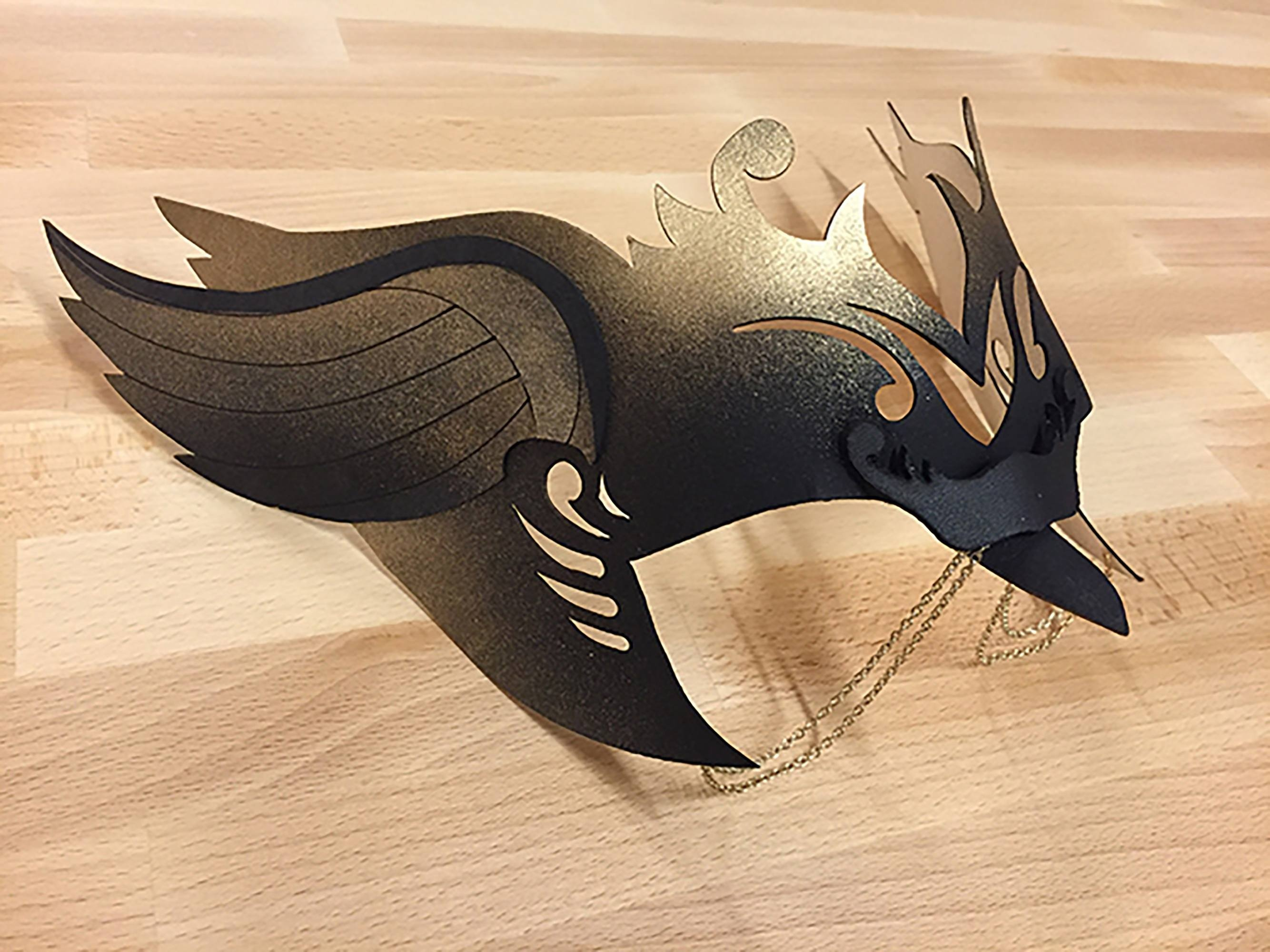 Side view Halloween mask cut on Glowforge
