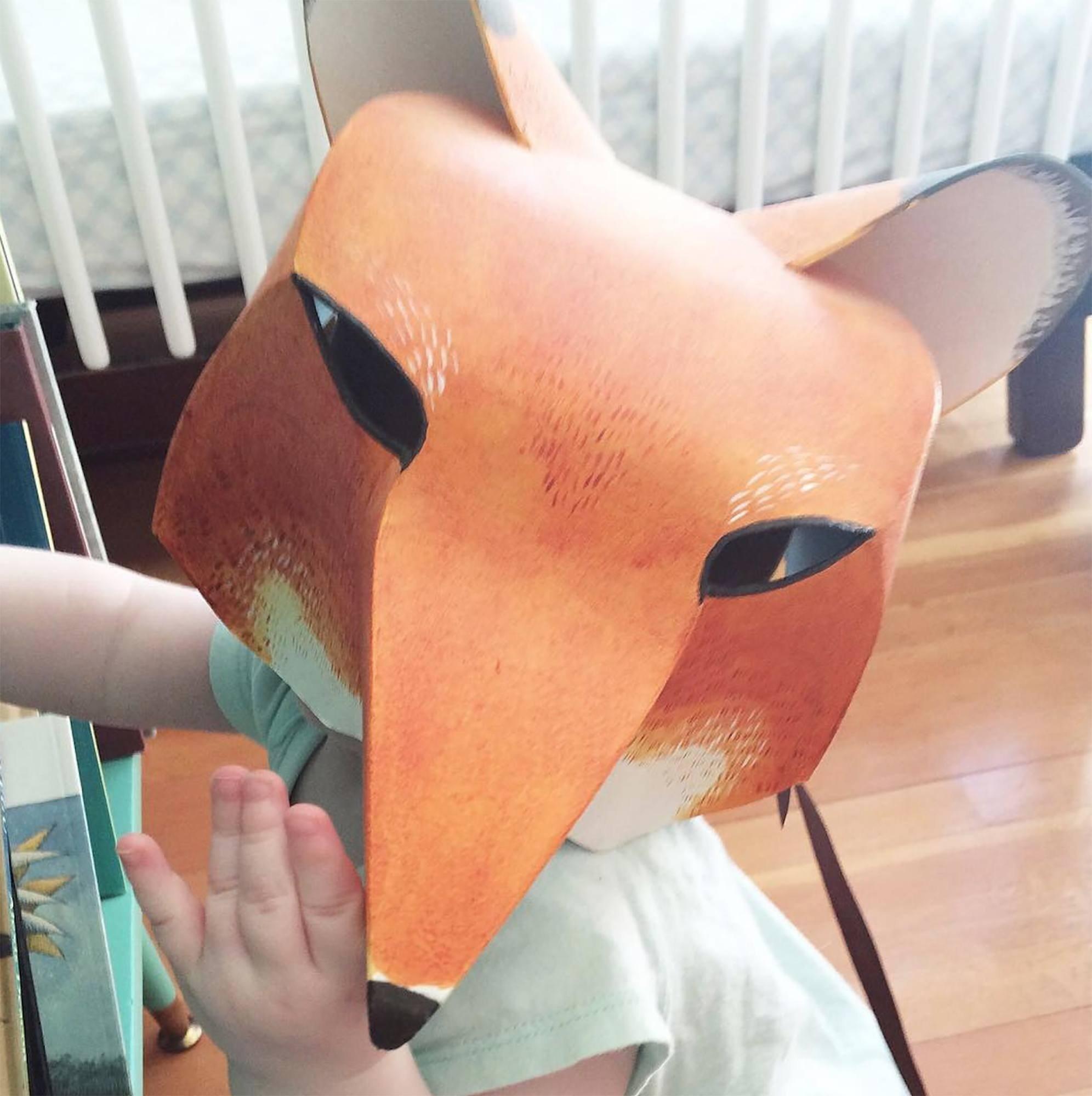 Children art class mask of a wolf