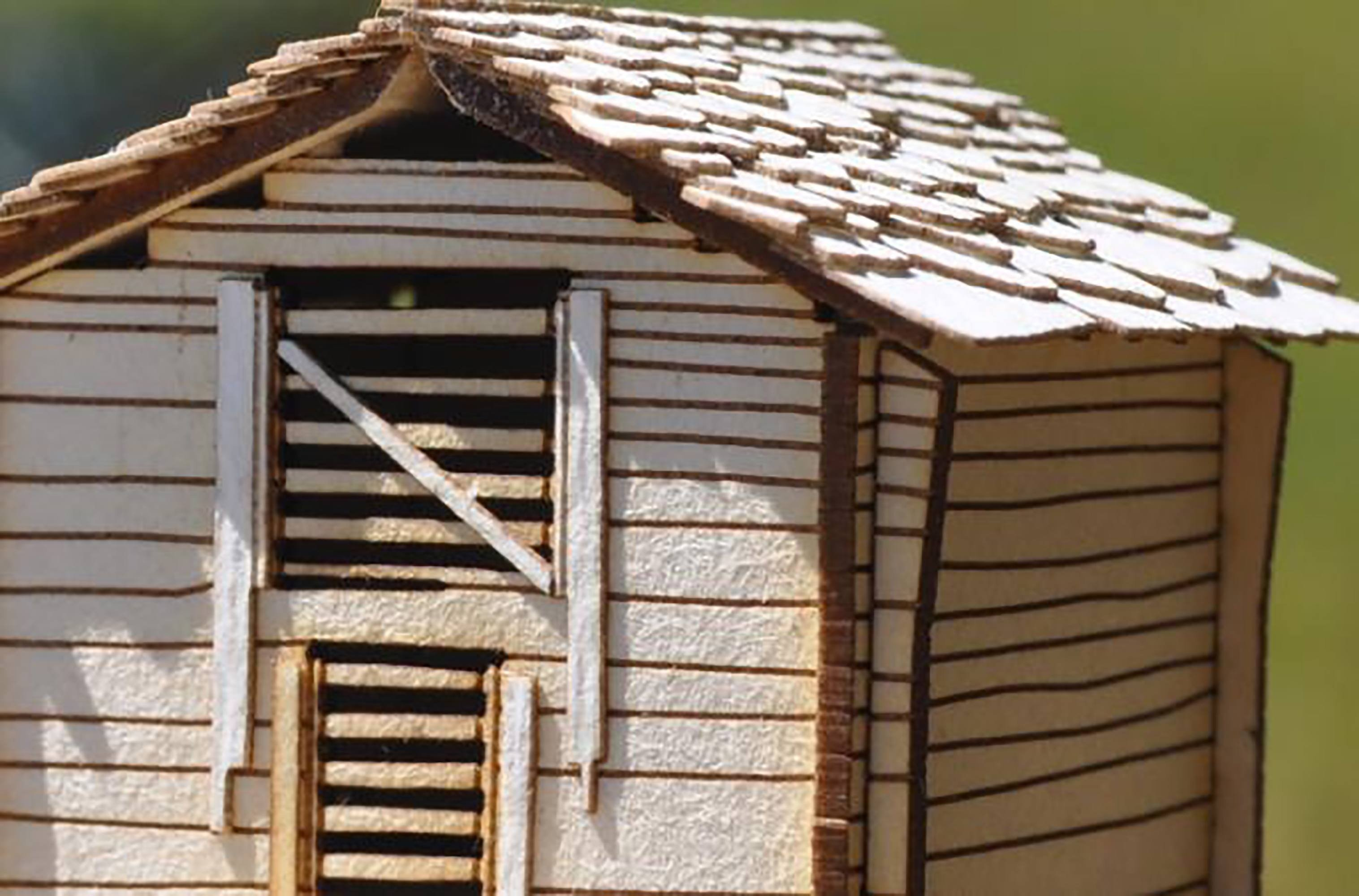 Laser etched scale model railroad shack