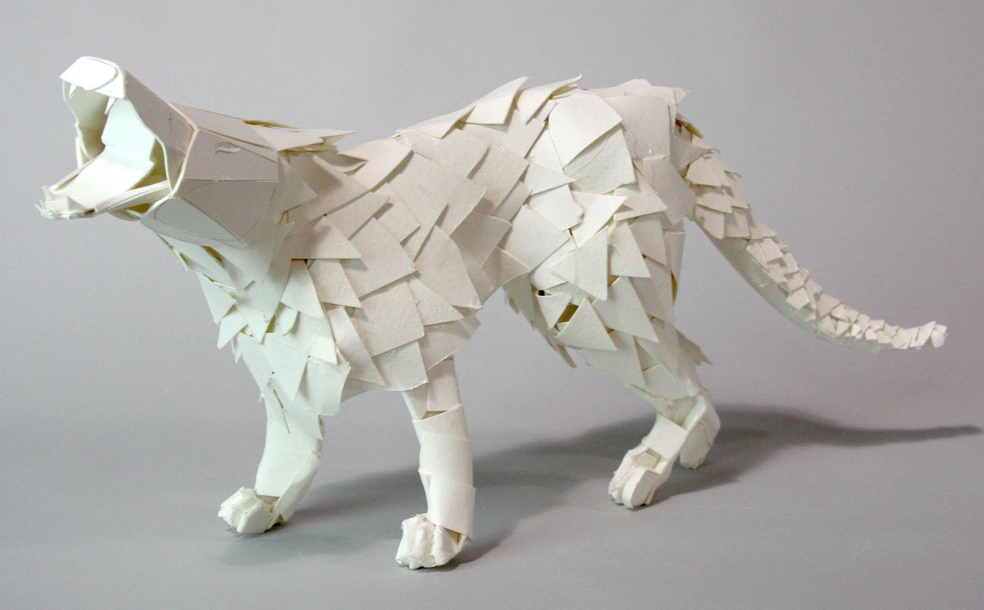 Wolf sculpture made with Taskboard in school art class