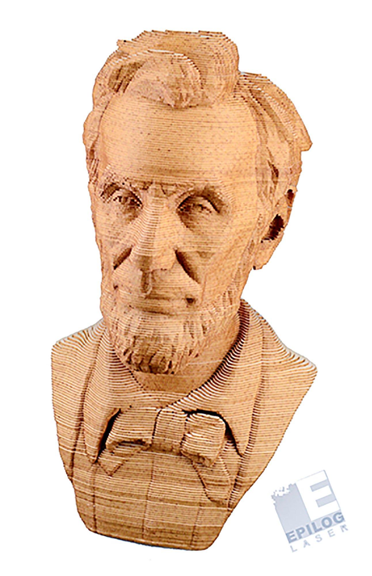 Laser cutter laminated Taskboard layers head of Lincoln