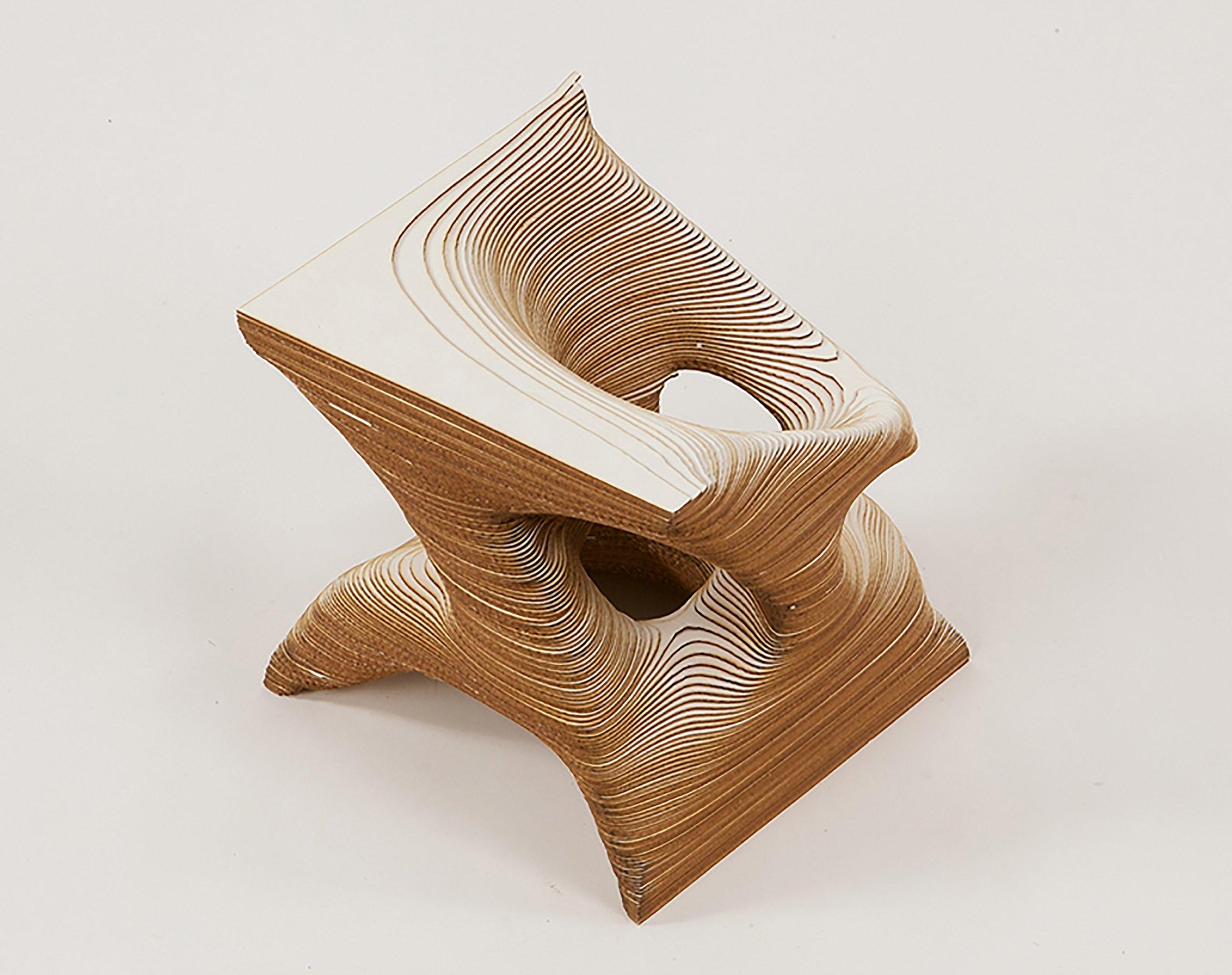 Laser cutting laminated abstract form shape basswood tone Taskboard